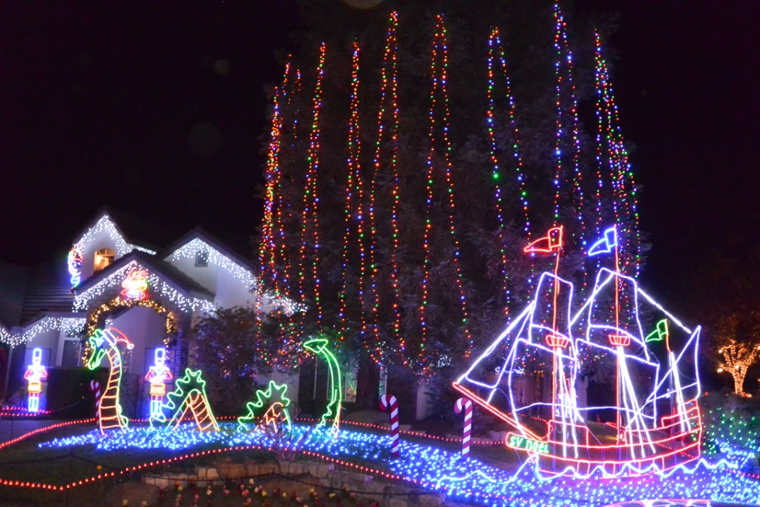 Candy Cane Lane or Cindy Lane Homes Christmas Lights Clovis CA. 93611
